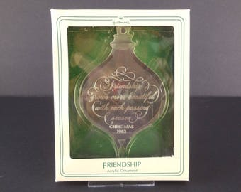 1983 Hallmark Friendship Acrylic Christmas Ornament Holiday Highlights