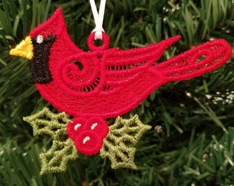 Free standing lace Christmas ornament, Christmas card insert, machine embroidered
