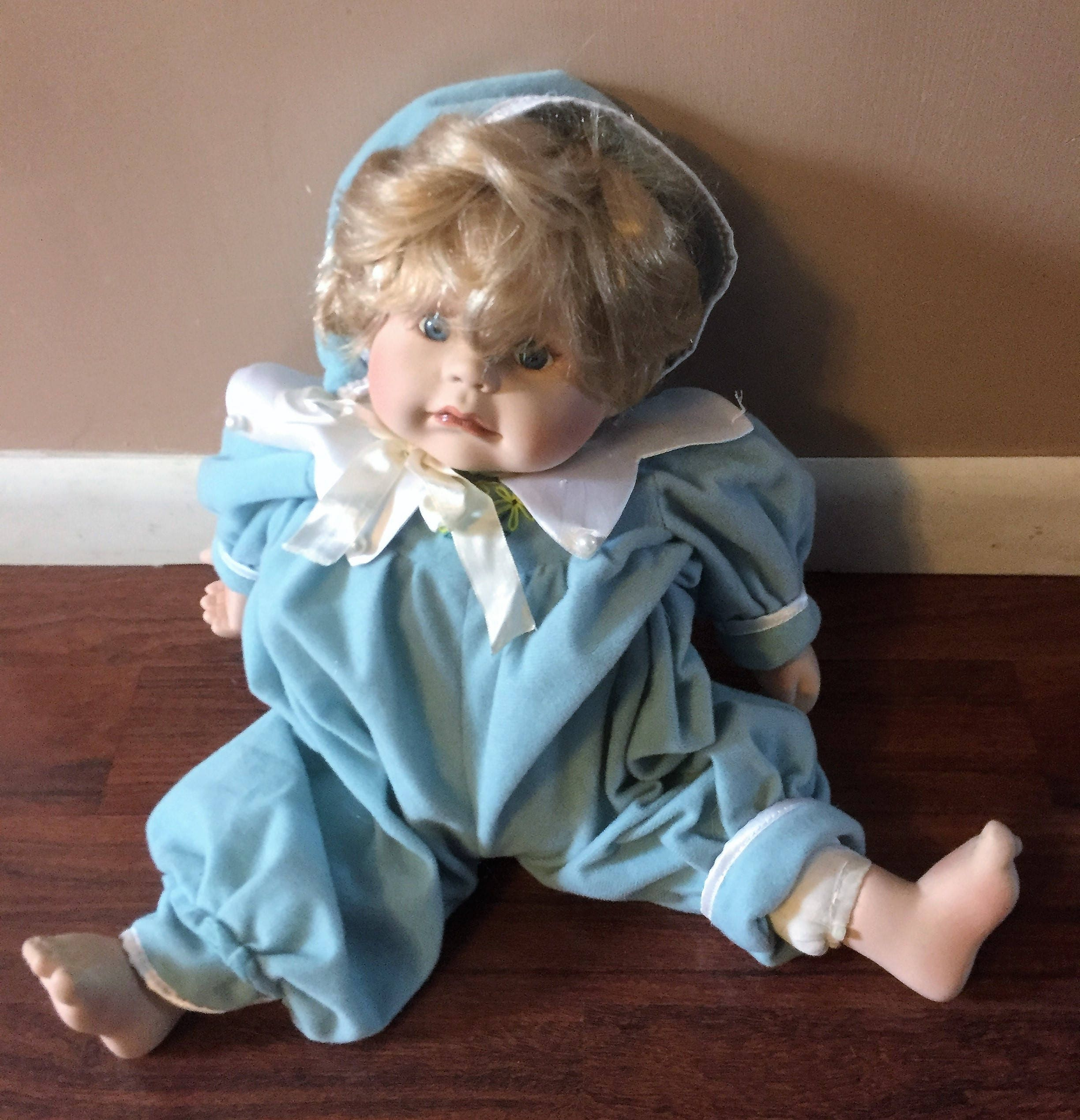15 Tall Blonde Hair Blue Eyed Porcelain Boy Baby Doll FREE SHIPPING