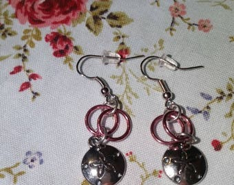 Pink Light Weight Sandy Dollar Chain Mail Earrings