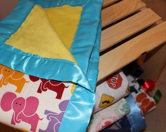 Multicolor elephant baby blanket