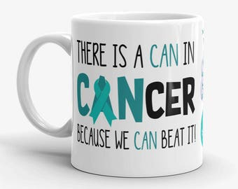 Ovarian Cancer Awareness Coffee Cup Can Beat It Novelty Ceramic Mug Teal Ribbon Custom Gift Survivor Support 11 & 15 ounce