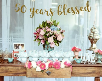 Cheers to 50 Years Banner,50th Birthday Sign, 50th Birthday Party,50th Birthday Decor, 50th Party Banner,Glitter Banner, 50th Anniversary