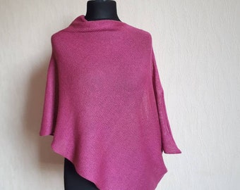 Linen silk poncho, Linen ponchos, knitted linen poncho, summer cape, beach poncho, linen cape, evening shawls wraps, pink cape, wedding cape