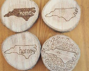 North Carolina coasters. Set of 4