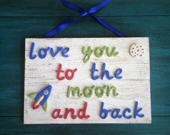 Ceramic Love You to the Moon and Back Sign