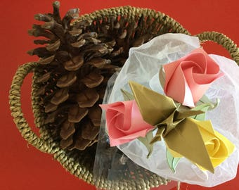 Origami roses with Crane