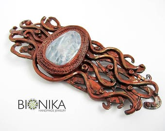 Brooch Polymer Clay Abstract brooch Big brooch Handmade brooch My Klimt Ethnic Jewelry style Modern graphics copper Jewelry wife gift buy