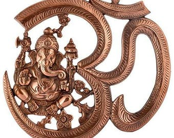 Beautiful black metal wall hanging of ganesha idol with om symbol