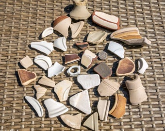 Scottish Beachcombed Pottery Shards Pieces Mix Rimmed/Shaped/Tops/Bases 610g