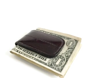 Money Clip Black Eel Skin with Magnetic Closure, Eel Skin Money Clip, Magnetic Money Clip, Money Holder, Leather Money Clip, Graduation Gift