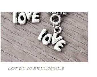 Set of 10 mini charms love inscription love Silver (C47)