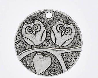 Set of 10 charms OWL couple heart in silver round (B23)