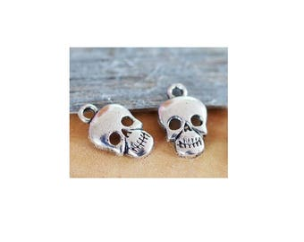 set of 10 silver tone (C61) skull charms