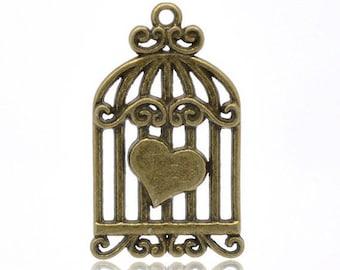 bronze heart bird cage charm (R46)