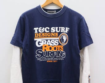 Vintage T&C Town And Country Surf Design Hawaii Grass Roots Surfing Since 1971 Blue Long Sleeve Tee T Shirts Size L