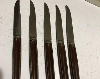 5 Vintage Sheffield Stainless Steak Knives