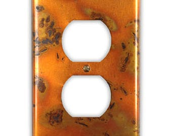 Single Outlet Copper Switch Plate in Golden Bamboo