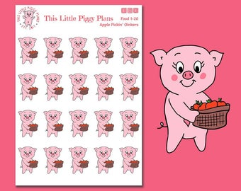 Apple Pickin' Oinkers - Apples Planner Stickers - Apple Stickers - Apple Picking - Fall Planner Stickers - Autumn Stickers - [Food 1-20]