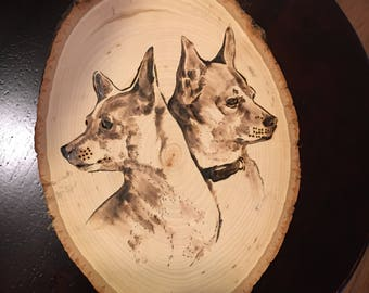 Wood burned pet portraits multiple pets