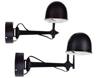 Ralph Lauren Swing Arm Wall Sconce Reading Lights Marked Est. 67 - A Pair