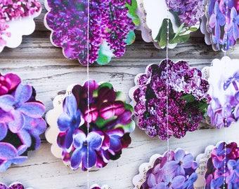 Purple paper garland, Lilac garland, Lilac wedding garland, Purple baby shower, Birthday garland, Purple party decor, Lilac photo backdrop
