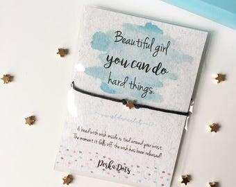 Star Wish bracelet, Make a Wish Bracelet, Encouragement Card, Gift Card Bracelet, Inspirational Gift, Best Friend Gift, Watercolor Gift Card