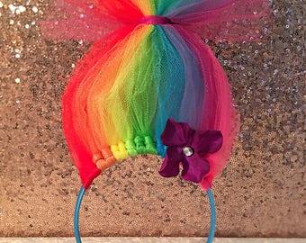 Rainbow Troll Headband - Troll Headbands - Trolls - Tulle Bow - Trolls Bow - Headband - Troll Crown - Troll Party