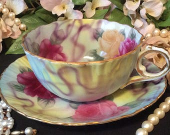 China Teacup and Saucer with Finger Handle, Gold Trim, Pink and Yellow Rose on the Vine Pattern