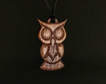 Owl Necklace - Walnut Owl Pendant