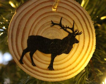 Wood Burned Ornament | Gift Tag Elk