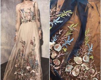 Embroidery lace net fabric Alberta Feretti