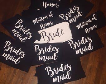 Set of 10 Bridal Party Shirts