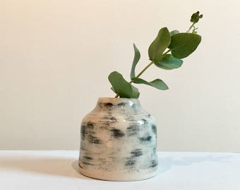 Small Ceramic Handmade Black & White Bud Vase