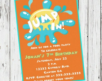 pool party invitations boys pool party birthday invitations pool party invite jump in - Birthday Pool Party Invitations