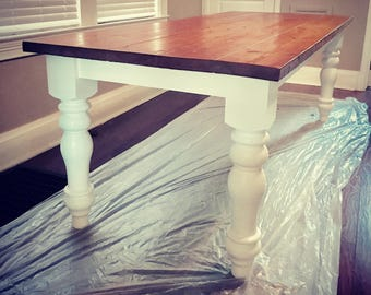 Classic Chunky Turned Leg Farm Table Elegant French Country