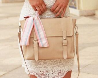 MJ leather satchel shoulder bag genuine leather hand made craft - leather messenger bag-handmade - handbag