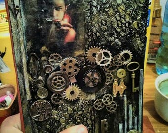 Handmade Vintage Notebook - journal  diary planner agenda perfect gift old paper  leather old book old diary gears steampunk