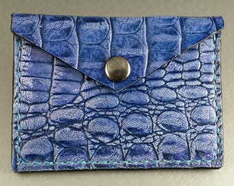 Leather Credit Card Case / Credit Card Holder / Business Card Holder / Crocodile Print / Hand Stitched / Minimalist Wallet / Leather EDC