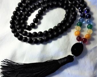 Black Matte Onyx & Chakra Stone Prayer Mala
