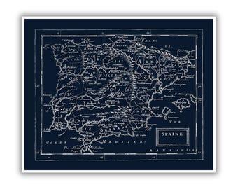 Old Spain Map Circa 1681, 1600s Spanish Antique Art Poster, Blueprint Style Print, 4 Color Options, Blue, Black, Slate Gray, Beige