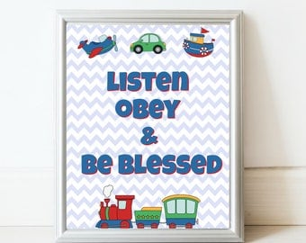 JW kids transportation Listen Obey and Be Blessed print//Printable art//JW gifts//JW printable