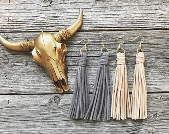 Gray OR Beige Suede Tassel Earrings