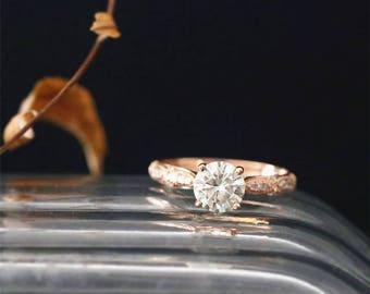 Vintage Moissanite Engagement Ring 1.0ct Round Forever Classic Moissanite Ring Art Deco Half Eternity Diamond Ring 14K Rose Gold Bridal Ring