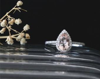 VS 8*6mm Pear Shape Peach Morganite Ring Bridal Ring Diamonds Halo Ring Stackable Gesmtone Ring 14K White Gold Morganite Engagement Ring