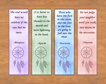 Printable Native American Proverb Bookmarks, Proverb Bookmarks, Native American Bookmarks, Set of 8, Instant Download, Reader Gift, Bookmark