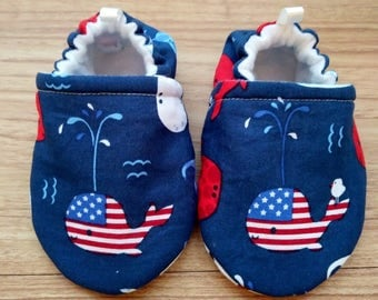 Baby shoes,Red White Blue flag baby shoes,Patriotic theme,Whale Baby shoes,Baby shower gift,gift,boy shoes,girl shoes,Handmade baby shoes