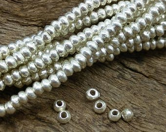 Handmade Silver Tiny Roundelle Plain Spacer Beads,approx:1.4x2.3 mm.13.5 inch long,approx.220 pcs.