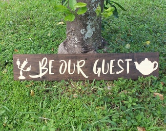 Be Our Guest Beauty and the Beast Disney Wedding Decorations Quote Wood Sign Handmade Home Decor Kids Wedding Gift Anniversary