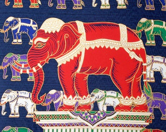 Handmade Thai Silk Screen Art Panel, Thai Silk, Elephant Wall Decor, Red Elephant, Silk Screen Art Picture, DIY Thai Silk Pillow  (TSP-206)